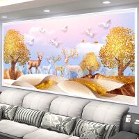 2018新款十字绣线绣黄金鹿客厅大幅简约现财麋鹿卧室满绣