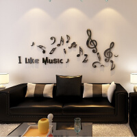音符创意3D水晶立体墙贴亚克力墙客厅沙发卧室贴纸家居装饰 特