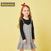 巴拉巴拉童装女童宝宝叠穿裙子公主小童连衣裙秋装新款格子