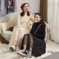 限时抢购价199唐狮秋季新款2019假两件连衣裙甜美复古高端气质针织毛衣裙