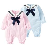 女婴儿冬季连体衣0岁5个月1男宝宝哈衣睡衣外出服2新生儿衣服冬装