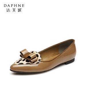 【双十一狂欢购 1件3折】Daphne/达芙妮女鞋 秋季平底鞋蝴蝶结尖头动物纹亮面中口单鞋