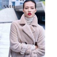 【品牌团 1件7折/2件5折】Amii[极简主义]美利奴羊皮毛一体 中长款皮草女装 冬宽松长袖外套