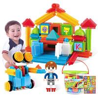 3--6周岁宝宝创意梳子拼插积木儿童塑料拼装益智玩具