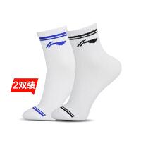 李宁LINING 羽毛球袜 AWSK161 男款运动中筒棉袜 两双装
