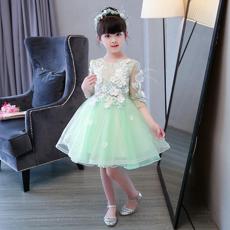 女童公主裙儿童走秀礼服长袖小主持人钢琴演出服花童蓬蓬裙秋冬季