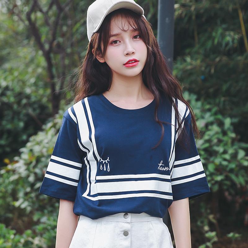 新品韩版宽松百搭夏季短袖T恤棉中袖大码女装半袖上衣