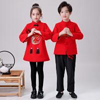 拜年服儿童唐装中国风男童新年民族喜庆女童宝宝洋气秋冬加绒套装