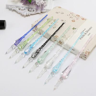 玻璃笔蘸水笔礼盒装学生水晶钢笔套装手工创意文具墨水玻璃沾水笔 高颜值手工艺术笔 缤纷多色