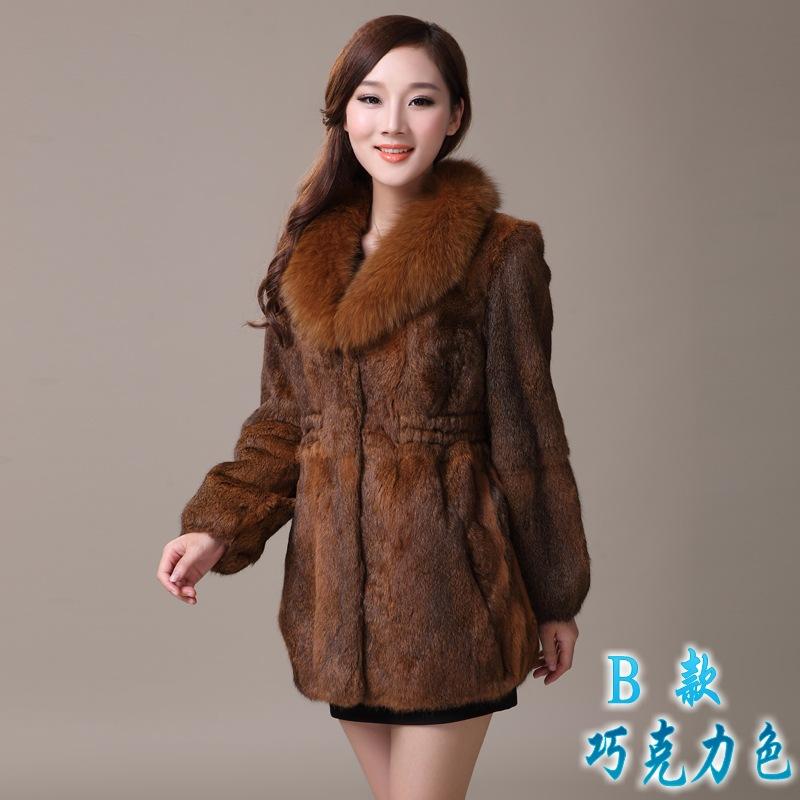 2017冬装新款 整皮海宁兔毛皮草女款外套狐狸毛领中长款大码长袖