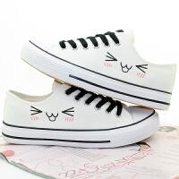 韩版可爱表情印花帆布鞋男女学生情侣鞋板鞋低帮休闲鞋潮搭