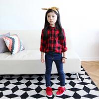 韩国童装 亲子装 母子母女2018秋冬装女童英伦格子儿童 纯棉衬衫