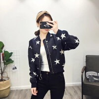 外套女秋装韩版宽松五角星刺绣短款飞行夹克薄款学生棒球服