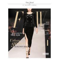 FLEUR WOOD2017秋冬新款女欧洲站气质七分袖长款毛呢外套大衣