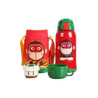 【当当自营】杯具熊(BEDDYBEAR) 儿童保温杯带吸管 不锈钢水杯 儿童保温壶学生水杯630ml 红色小猴