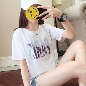 RANJU 然聚2018女装夏季新品新款韩版ins短袖t恤女夏装白色学生宽松韩范潮打底衫女�b上衣