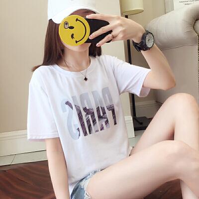 RANJU 然聚2018女装夏季新品新款韩版ins短袖t恤女夏装白色学生宽松韩范潮打底衫女裝上衣