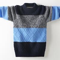 儿童毛衣套头厚绒款秋冬季中大童圆领男孩针织衫线衣12-15岁
