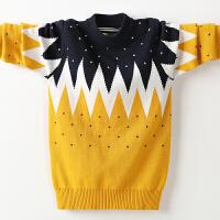儿童套头毛衣绒厚款冬季新款男孩针织衫圆领保暖毛线衣