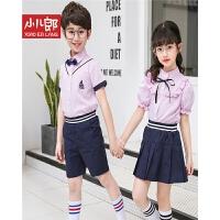 2018夏季童装新款时尚校服两件套男女童短袖英伦风班服学生服潮 W1859