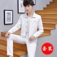 青少年男士休闲西装套装韩版修身薄款外套学生小西服一套帅气