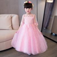 钢琴纱裙主持人长袖 儿童公主礼服蓬蓬裙演出服花童女童婚纱长款裙