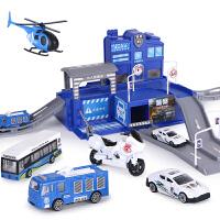 儿童停车场玩具小汽车轨道滑梯消防车2-3-6岁男孩工程车合金套装
