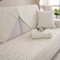 棉布艺沙发垫夏季简约现代坐垫四季通用皮沙发套定做靠背沙发巾J 白色 水洗鹅卵石