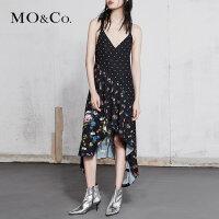 MOCO春季新品吊带不规则裙摆拼接碎花连衣裙MA181DRS130