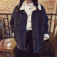 韩观韩版新款羊羔毛棉衣女秋冬装百搭学院风牛仔衣学生棉袄外套潮 图片色