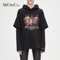 MOCO冬季新品摇滚图案印花连帽中性男友风卫衣MA184SWS203 摩安珂