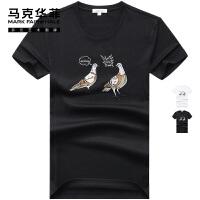 【商品秒杀,秒杀价158元】马克华菲短袖t恤男士2020夏季新款潮牌潮流鸽子刺绣图案半袖ins潮