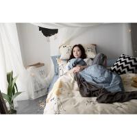 家纺卡通全棉四件套纯棉床上用品小清新纯棉1.8床单被套2.0床品三件套 hallo 小鸟