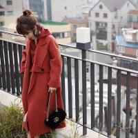 2017秋冬新款双面呢羊毛大衣女中长款宽松红色翻领毛呢外套