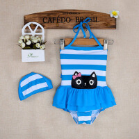 韩版中小童女孩婴儿宝宝游泳衣 条纹儿童泳衣女童连体泳装可爱