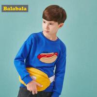 巴拉巴拉儿童卫衣男童秋装2018新款韩版儿童上衣中大童圆领套头衫