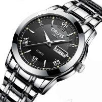 瑞士全自动非机械表手表男士日历夜光防水简约精钢时尚韩版表-男款银针黑面