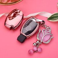适用奔驰C200L S级320L钥匙包套扣男女GLA/GLS450按键全包保护壳 +郁金香