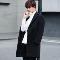 男士中长款呢大衣秋冬季新款潮流韩版修身青年帅气妮子风衣男外套