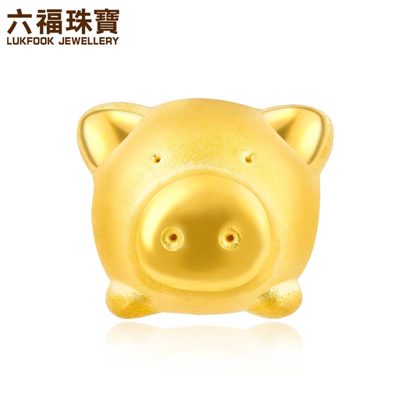 六福珠宝小猪存钱罐黄金串珠手绳足金转运珠手链定价L11A1TBP0002支持使用礼品卡