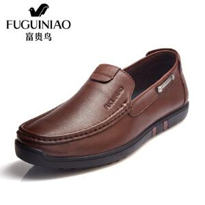 富贵鸟头层牛皮男士套脚商务休闲鞋皮鞋男鞋子