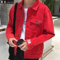 秋季新款男士韩版宽松潮牌破洞红色牛仔外套学生纯色潮流休闲夹克 红色