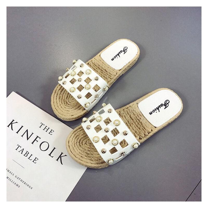 ELEISE美国艾蕾莎新品156-039韩版超纤皮平跟女士凉拖鞋