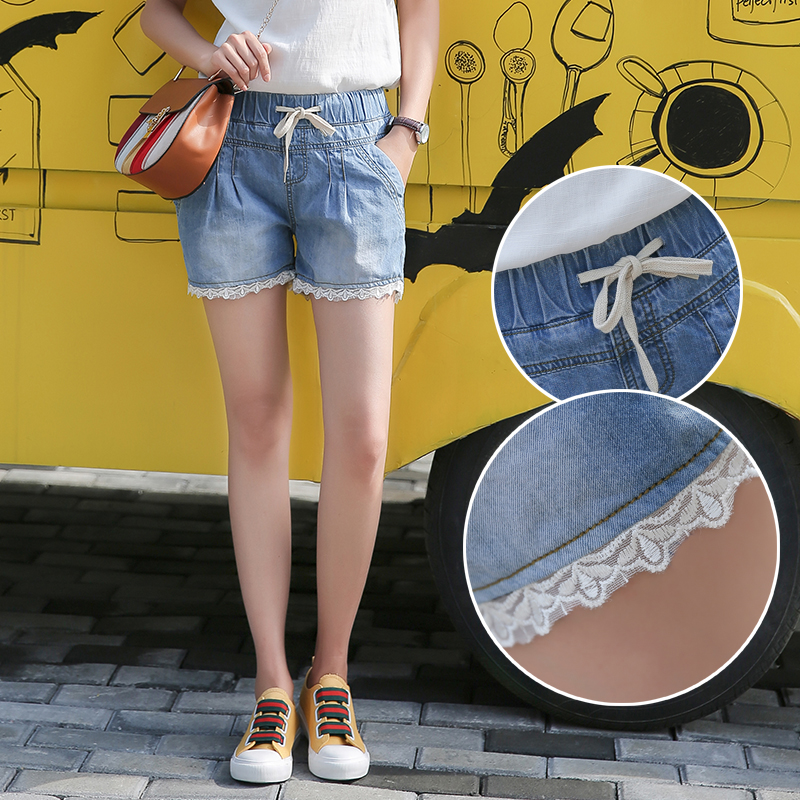 韩版松紧腰阔腿牛仔短裤女夏显瘦薄款学生蕾丝大码热裤潮