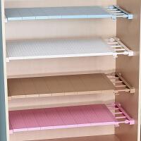 衣柜收纳分层隔板柜子免钉置物架橱柜浴室分隔层架宿舍伸缩整理架 白色 长23-30cm 宽24cm