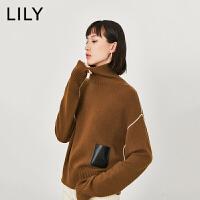 【1/18开抢 到手价300元】LILY冬新款女装撞色条纹拼接口袋羊绒衫宽松毛衣119440B8318