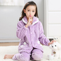 中大童厚款法兰绒春秋冬季装5-7岁儿童家居服10岁女童睡衣
