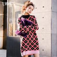 针织红色连衣裙秋冬季2017新款女中长款韩版内搭打底加厚毛衣裙子
