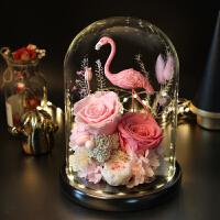 火烈鸟永生花 火烈鸟永生花玻璃罩礼盒摆件玫瑰花束干花情人节教师节生日礼物