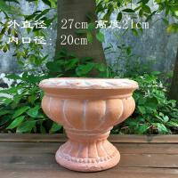 粗质大口径红陶盆 多肉植物陶土花盆 阳台庭院园艺陶瓷花盆 D款红色号